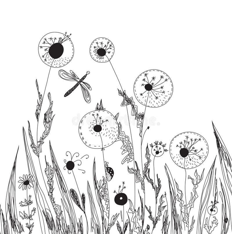 Dientes de león y tarjeta de la naturaleza de la hierba stock de ilustración