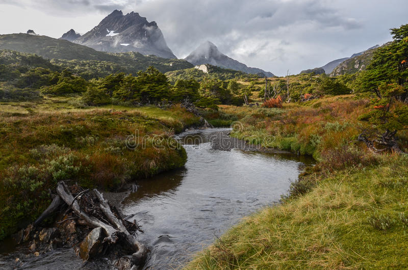Dientes de Navarino, Chile. River in the Dientes de Navarino in the southern Chile stock photo