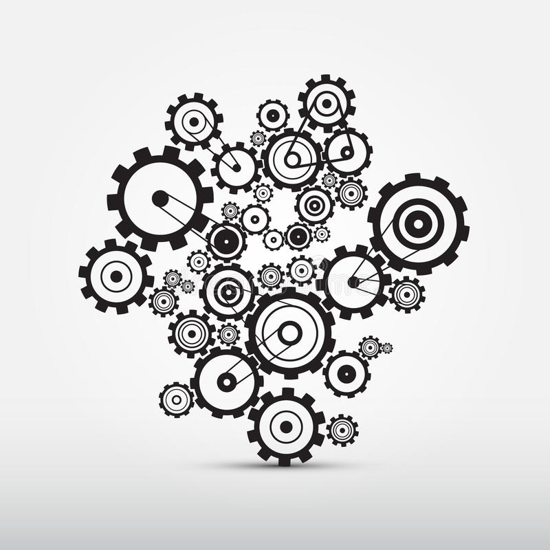 Dientes del vector - ejemplo de los engranajes stock de ilustración