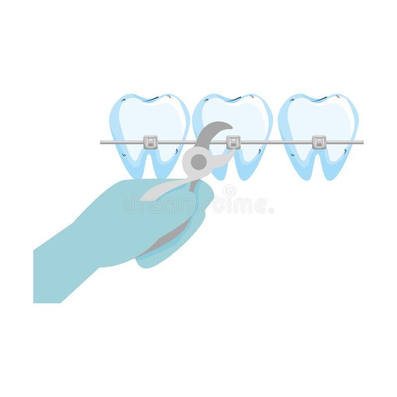Dientes humanos con el orthodontist y los alicates de la mano stock de ilustración