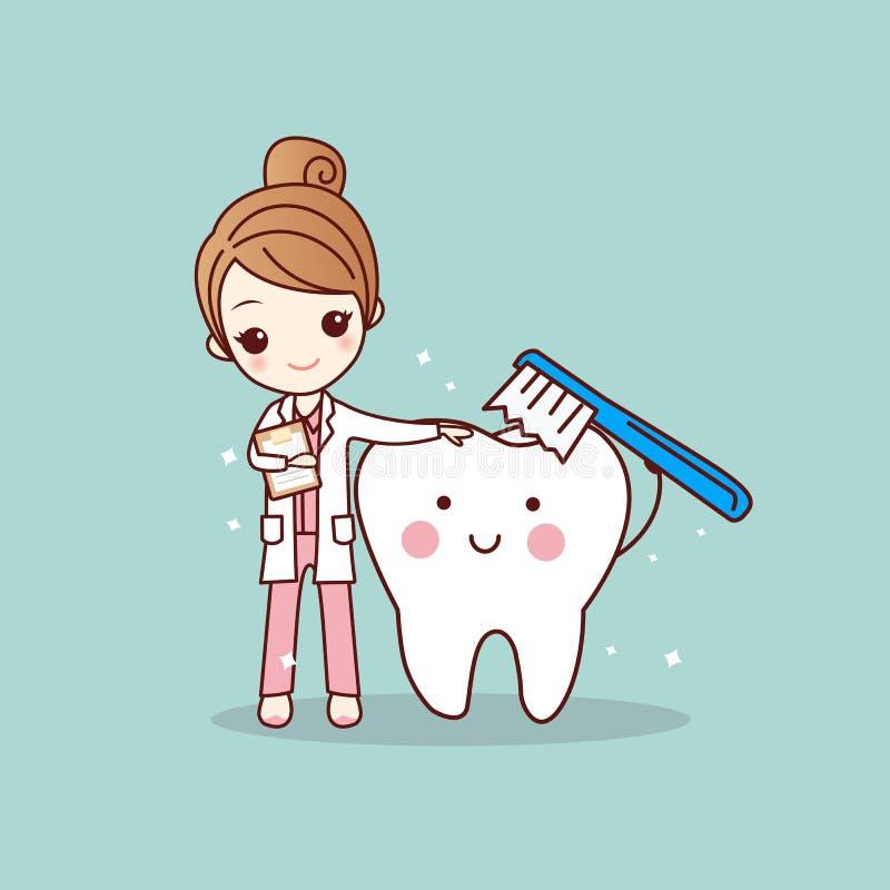 Dientes limpios del cepillo del dentista de la mujer stock de ilustración