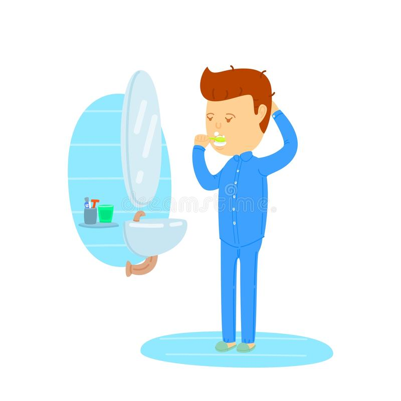 Dientes que aplican con brocha del hombre en cuarto de baño ilustración del vector