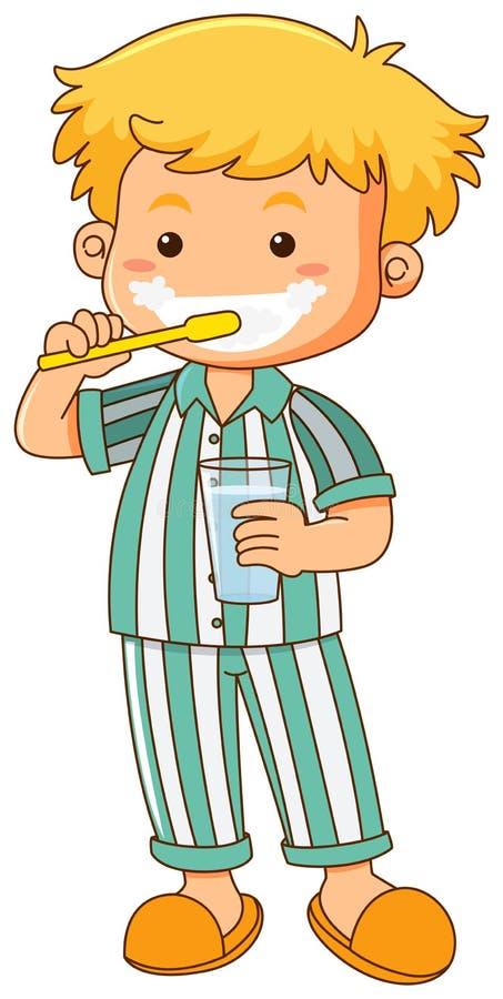 Dientes que aplican con brocha del niño pequeño stock de ilustración