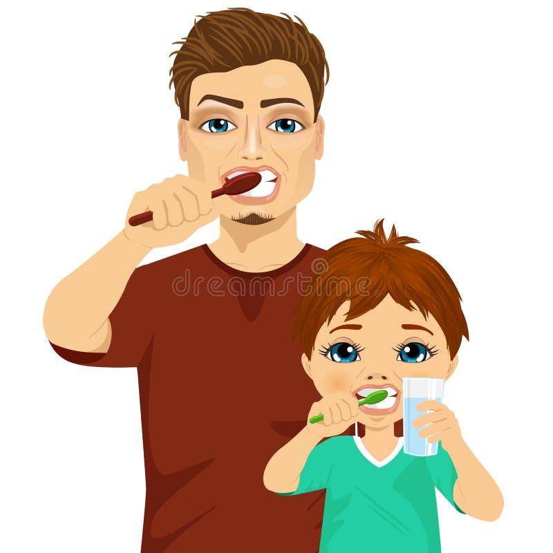 Dientes que aplican con brocha del padre y del hijo ilustración del vector
