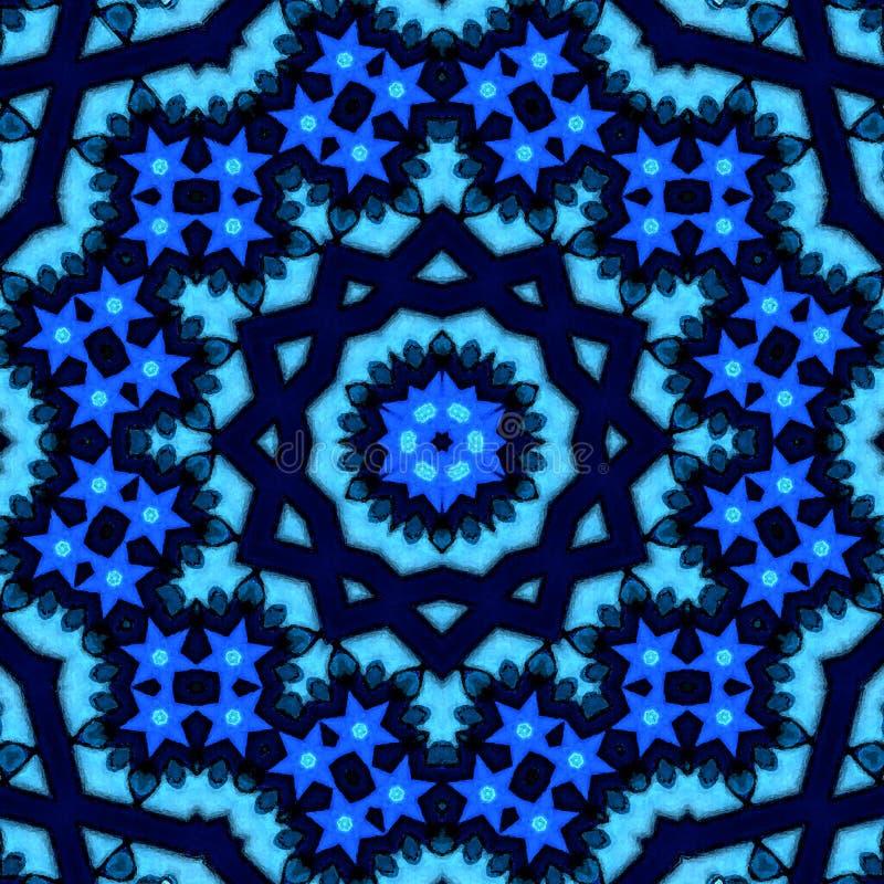 Diep blauw en indigo arabesque of mandala stock afbeelding