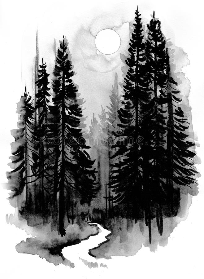 Diep bos stock illustratie