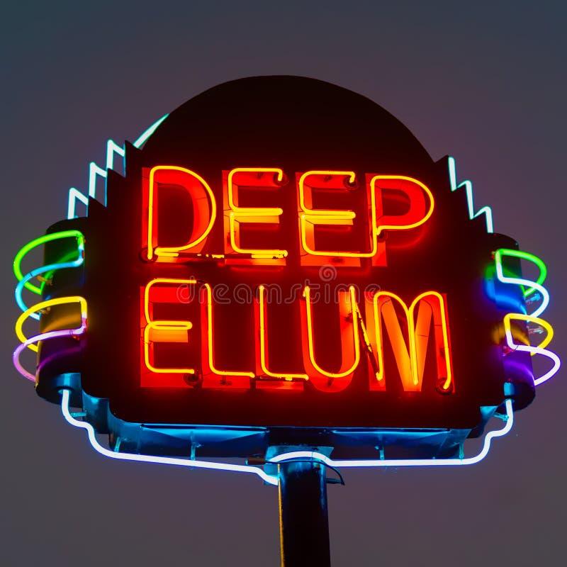Diep Ellum-Neonteken royalty-vrije stock foto's