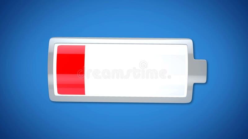 Diep geloste telefoonbatterij, rode waarschuwing, kortstondige elektronische producten stock afbeelding