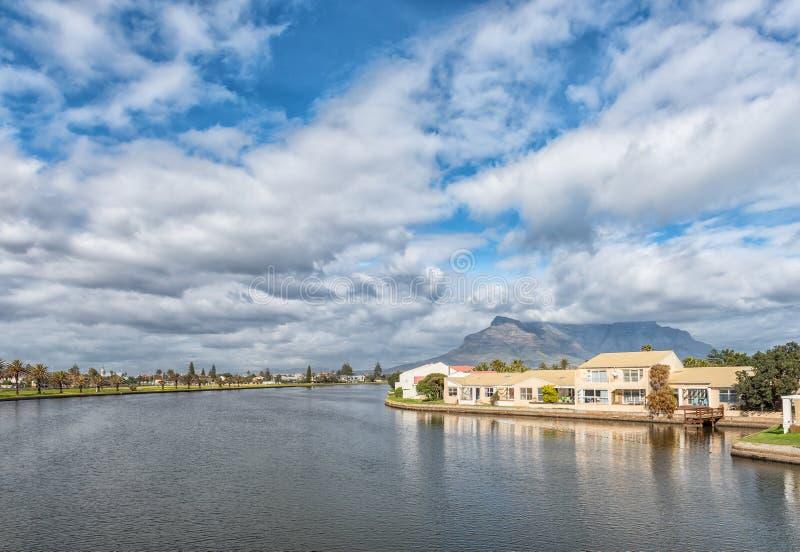 Diep River mit Häusern auf Woodbridge-Insel lizenzfreie stockbilder