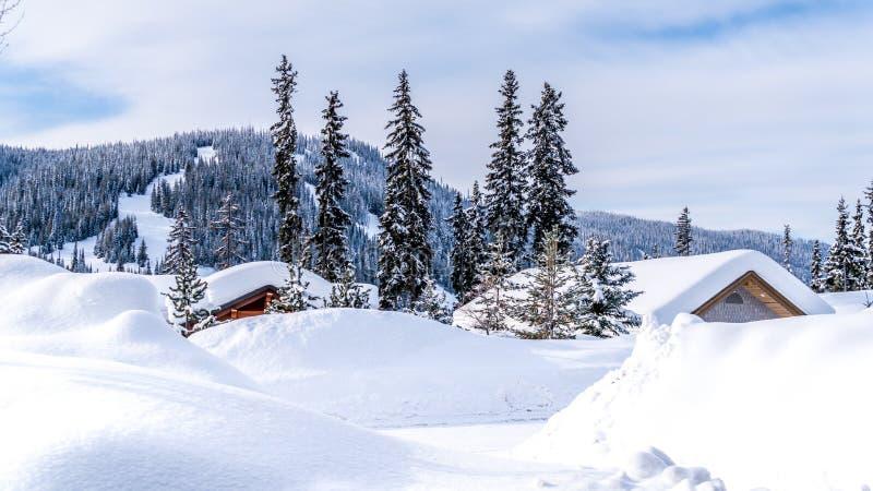 Diep sneeuwpak die huizen en wegen van het alpiene dorp van Zonpieken behandelen stock afbeelding
