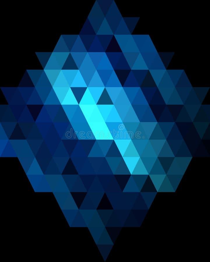 Diepe blauwe diamant grafische achtergrond stock illustratie