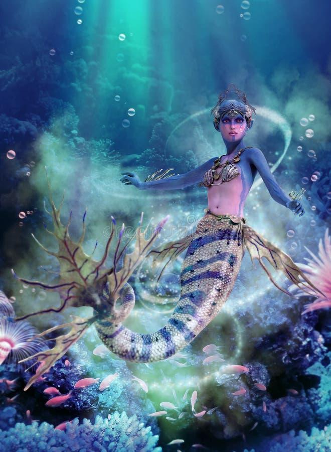 Diepe Blauwe Overzeese Meermin, 3d CG stock illustratie