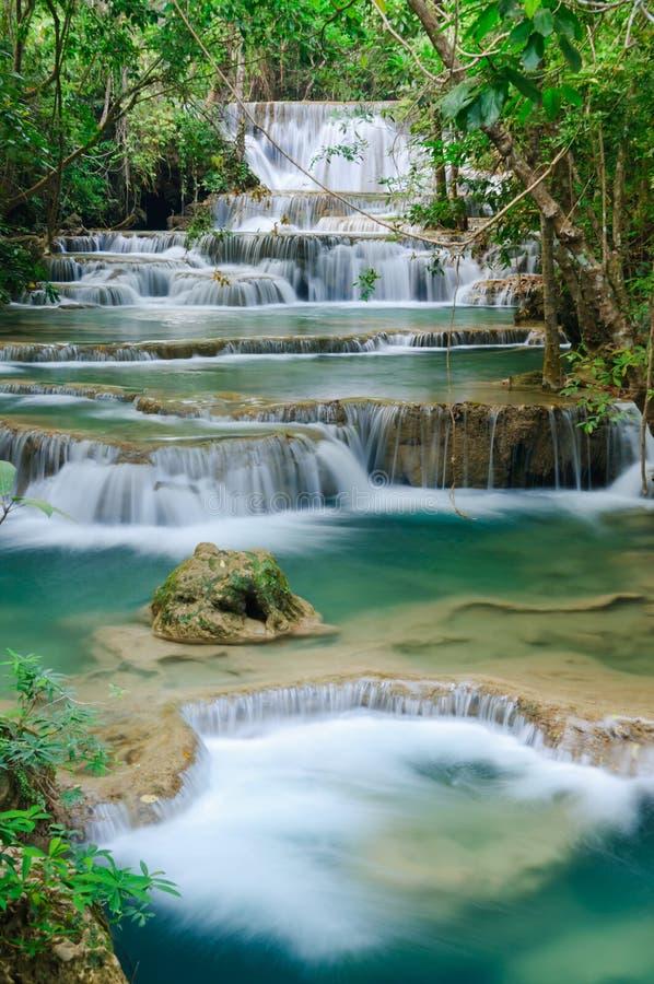 Diepe bosWaterval in Kanchanaburi, Thailand royalty-vrije stock foto