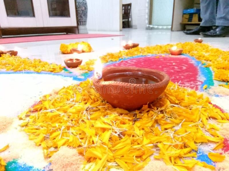 Diepe Deepawali, Diya, Festival stock afbeelding