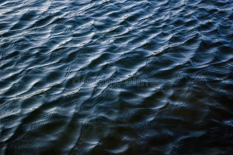 Diepe donkerblauwe van de de textuurrimpeling van de rivieroppervlakte het waterachtergrond royalty-vrije stock fotografie