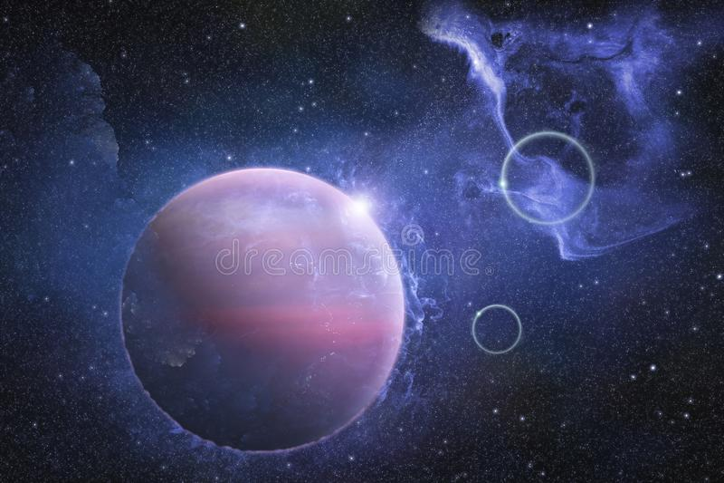 Diepe kosmische ruimtescène met nevel en mooie planeet royalty-vrije illustratie