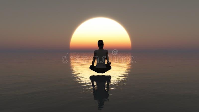 Diepe meditatie op de oceaan bij zonsondergang -3D het Teruggeven stock illustratie