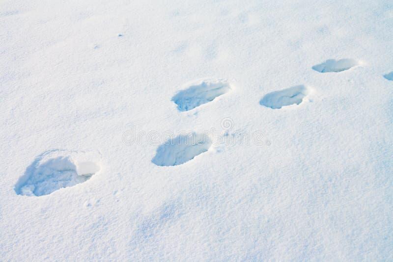 Diepe menselijke voetafdrukken in sneeuw royalty-vrije stock fotografie
