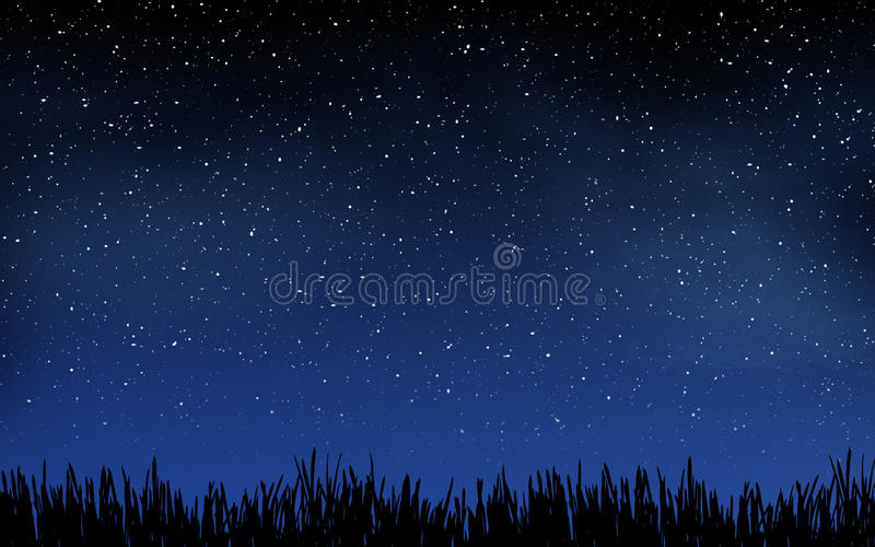 Diepe nachthemel met vele sterren en gras royalty-vrije stock fotografie