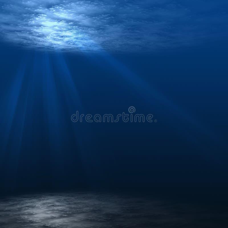 Diepe onderwaterscène. royalty-vrije illustratie