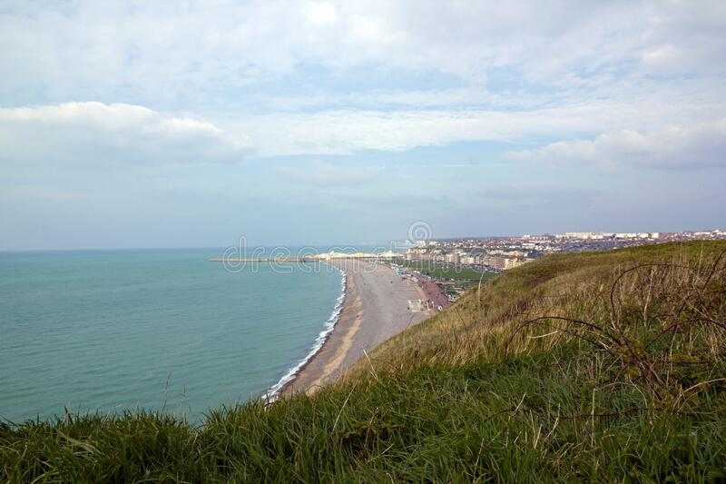 Dieppe, the beach seen from above Seine-Maritime France stock image