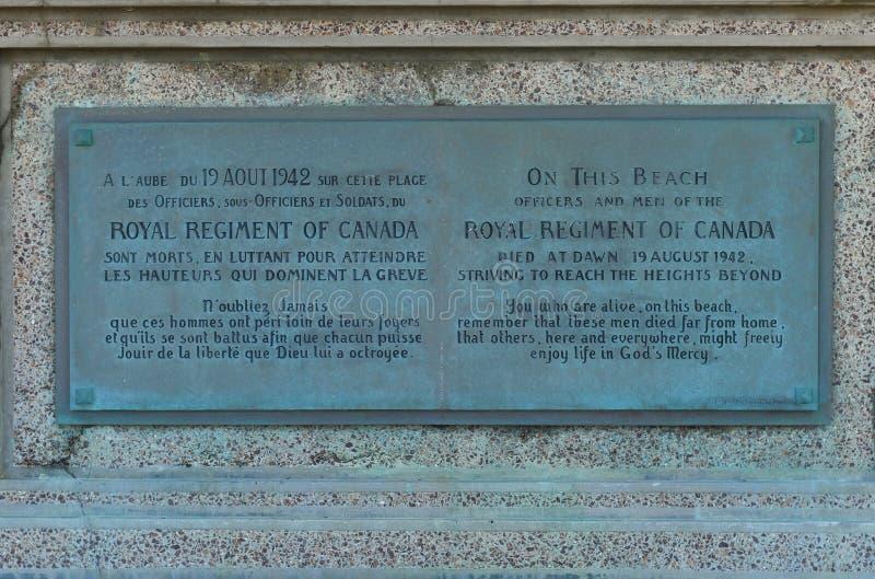 DIEPPE, FRANKREICH - 1. MAI 2018: Monument zu den kanadischen Soldaten auf dem Ufer während der Ausschiffung in Dieppe, Frankreic lizenzfreie stockfotos