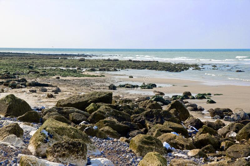 Dieppe and its famous pebbles Normandy Seine -Maritimes. royalty free stock photography
