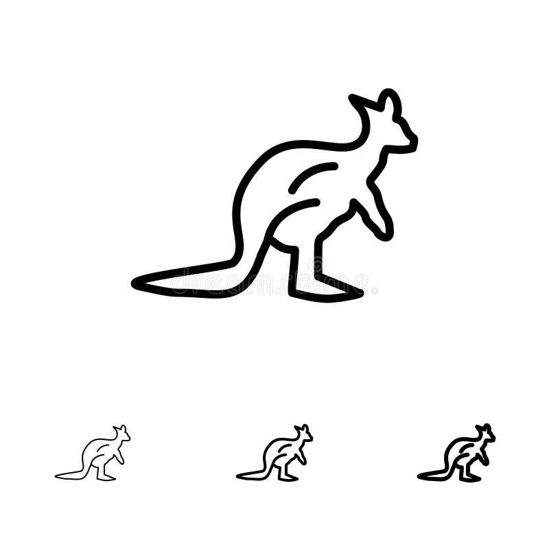 Dier, Australië, Australisch, Inheems, Kangoeroe, het pictogramreeks van de Reis Gewaagde en dunne zwarte lijn stock illustratie