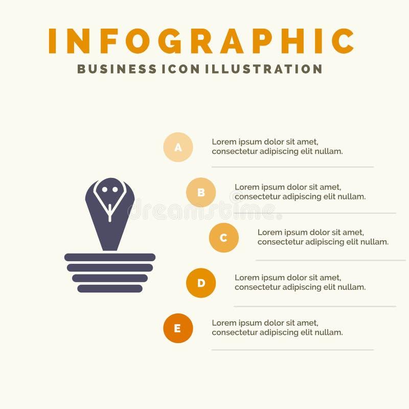 Dier, Cobra, India, Koning Solid Icon Infographics 5 de Achtergrond van de Stappenpresentatie stock illustratie