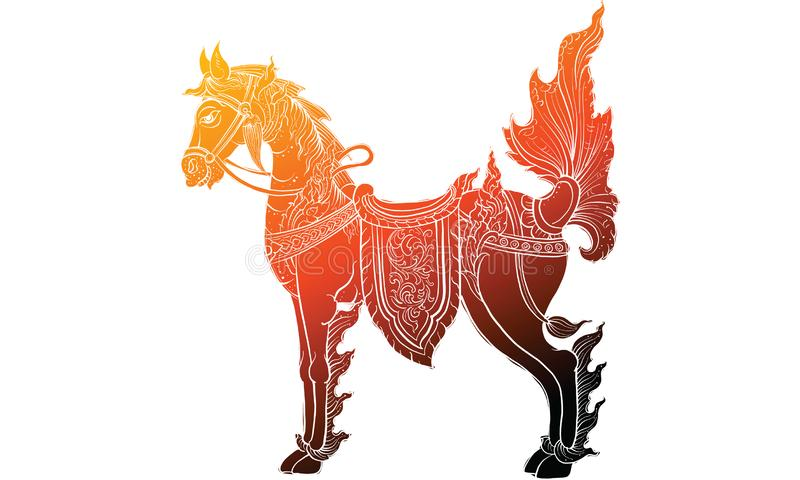 Dier in het Thaise traditie schilderen, Thaise tatoegering, vector stock fotografie