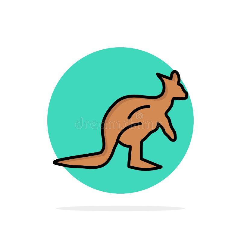 Dier, Inheems Australië, Australisch, Kangoeroe, van de Achtergrond reis Abstract Cirkel Vlak kleurenpictogram stock illustratie
