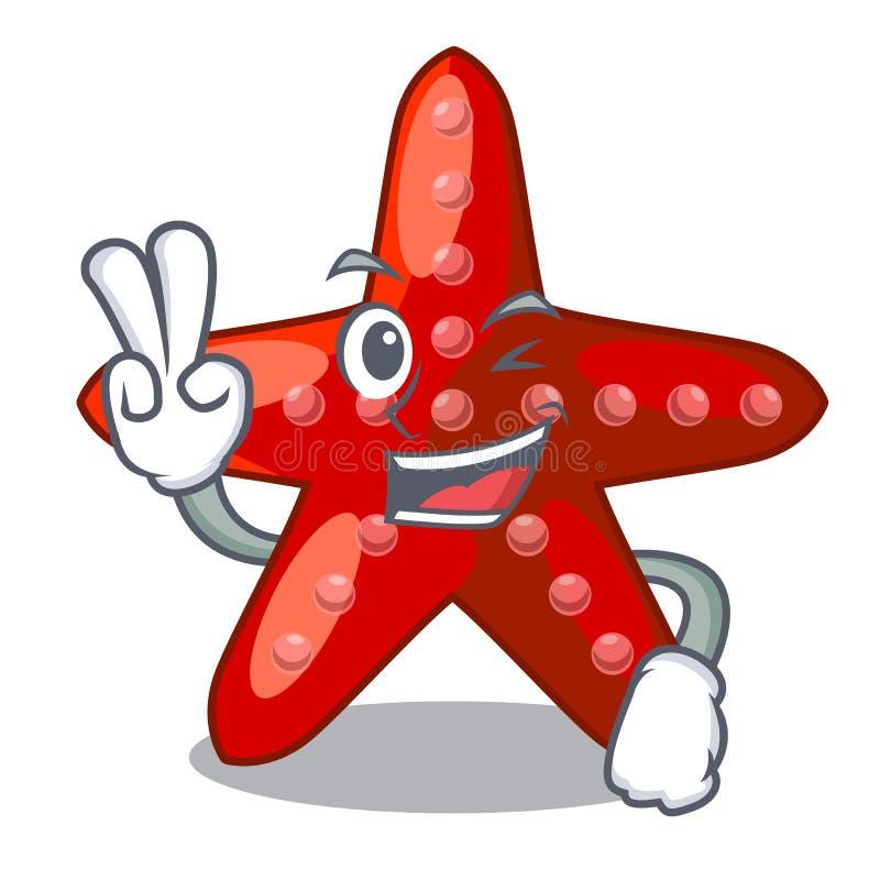 Dier van de twee vinger het rode zeester op mascottezand royalty-vrije illustratie