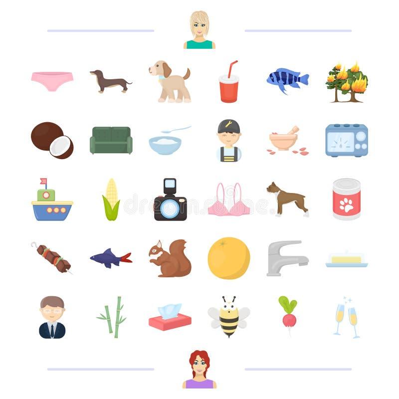 Dier, voedsel en ander Webpictogram in beeldverhaalstijl verschijning, productpictogrammen in vastgestelde inzameling stock illustratie