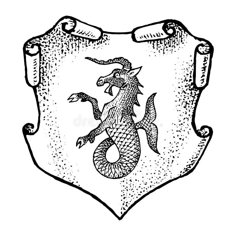 Dier voor Wapenkunde in uitstekende stijl Gegraveerd wapenschild met geitvissen, mythisch schepsel Middeleeuwse Emblemen en stock illustratie
