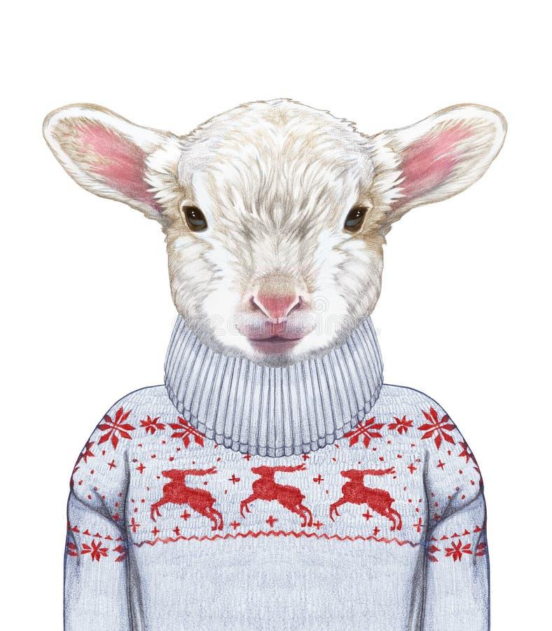 Dieren als mens Portret van Lam in sweater stock illustratie