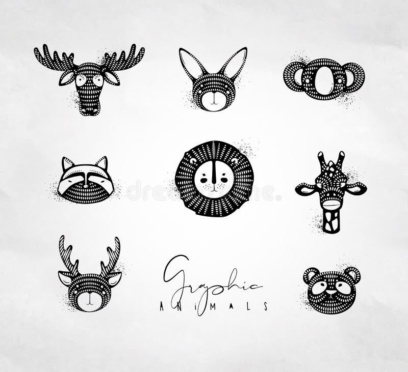 Dieren authentieke grafisch royalty-vrije illustratie
