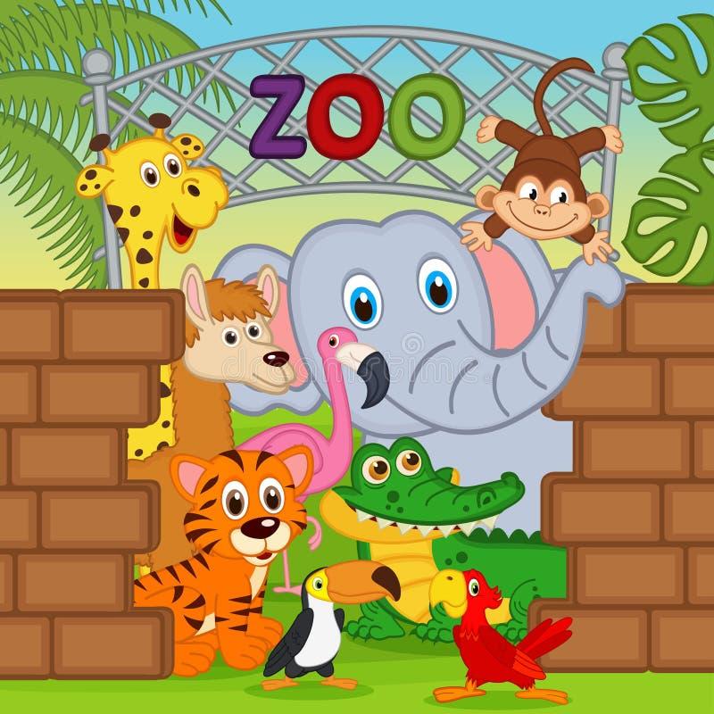 Dieren bij de dierentuin stock illustratie