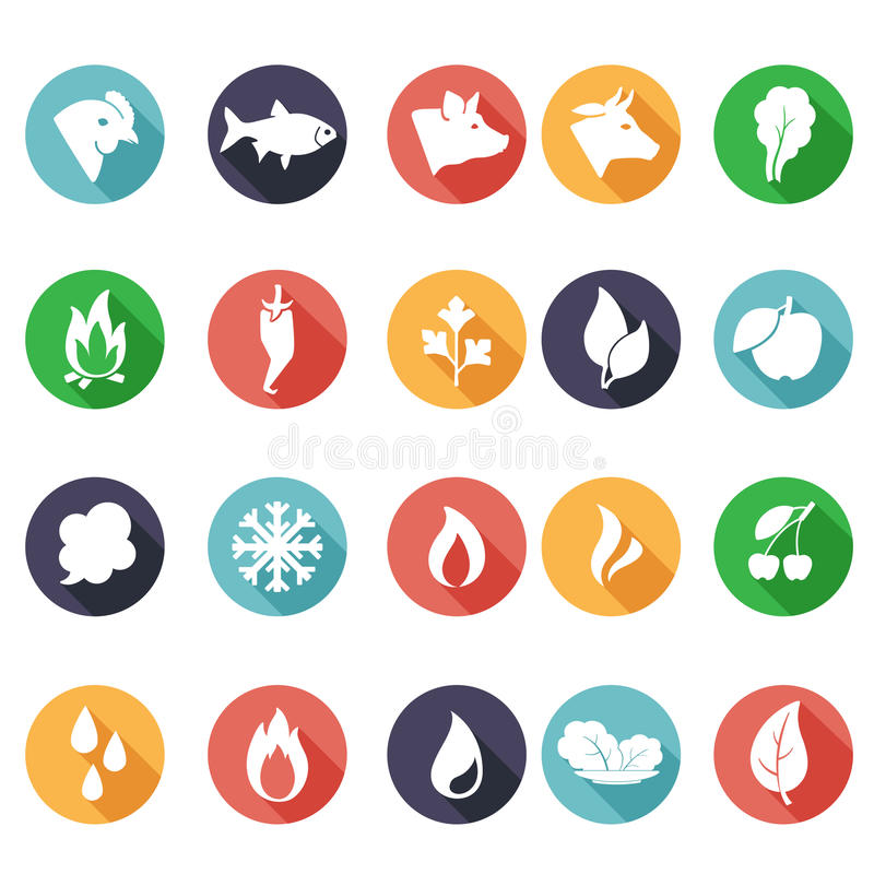 Dieren, bladeren, brand, vorst, stoom, waterpictogrammen Vlakke stijl vector illustratie