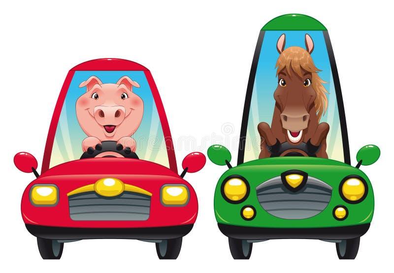 Dieren in de auto: Varken en Paard. vector illustratie