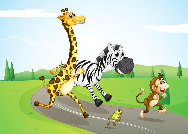 Dieren die bij de straat lopen stock illustratie