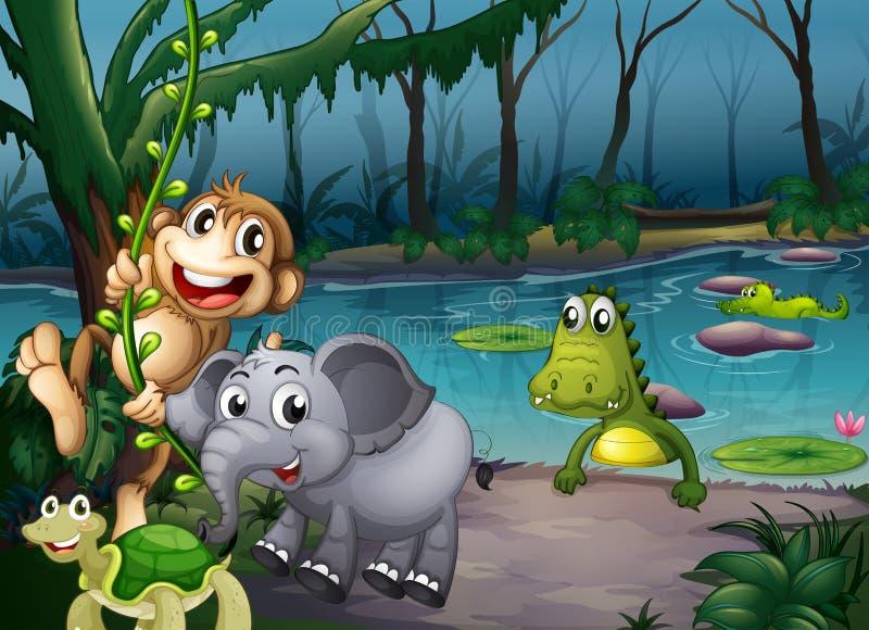 Dieren die bij het bos dichtbij de vijver met krokodillen spelen royalty-vrije illustratie