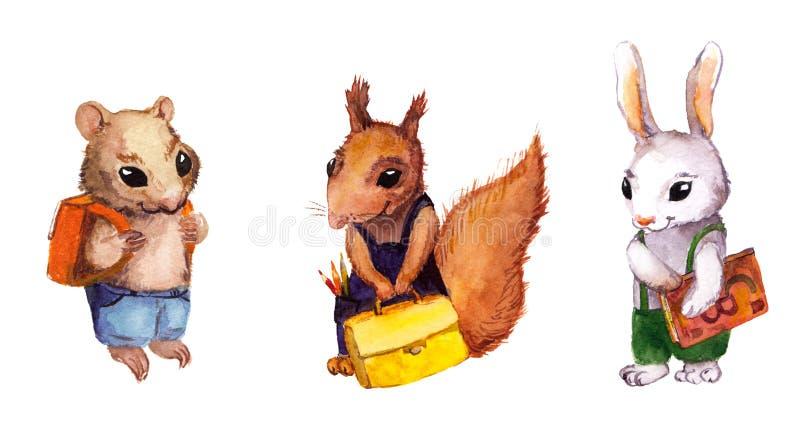Dieren die naar school gaan - hamster, eekhoorn, konijn vector illustratie