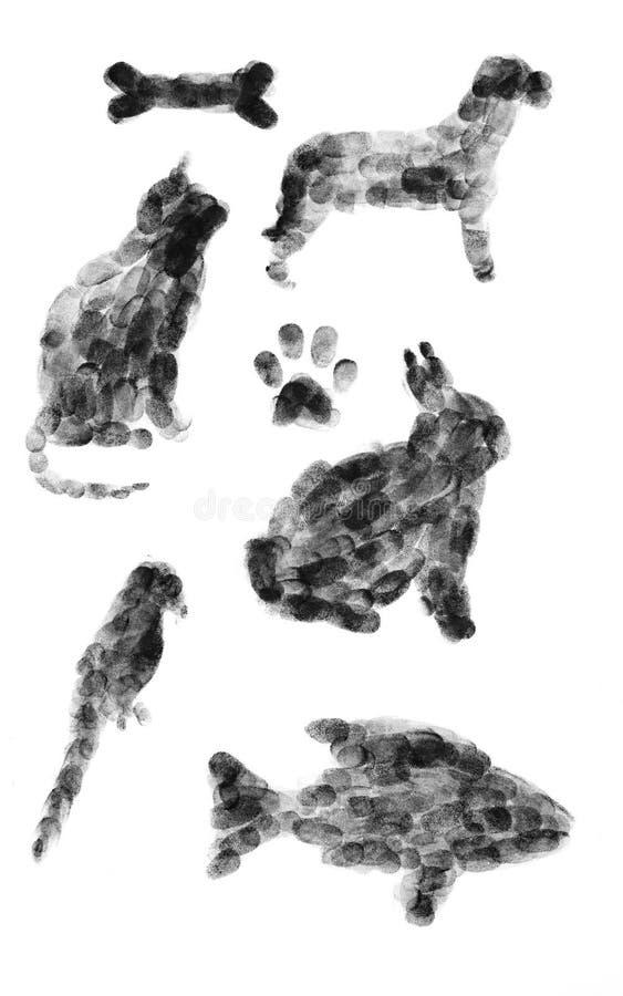 Dieren die uit Vingerafdrukken worden samengesteld royalty-vrije stock foto