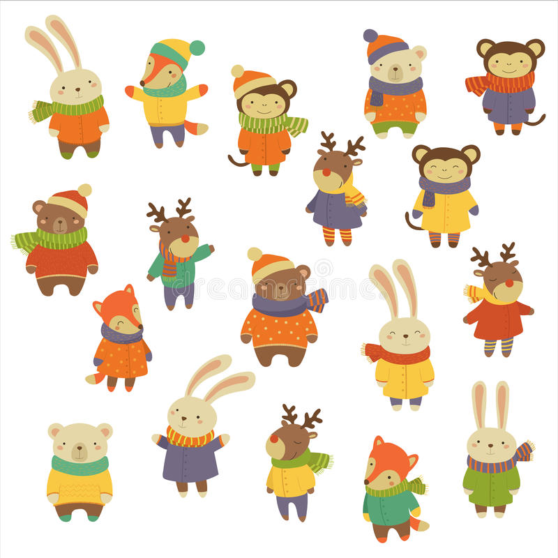 Dieren die Warme Kleren dragen Vector illustratiereeks vector illustratie