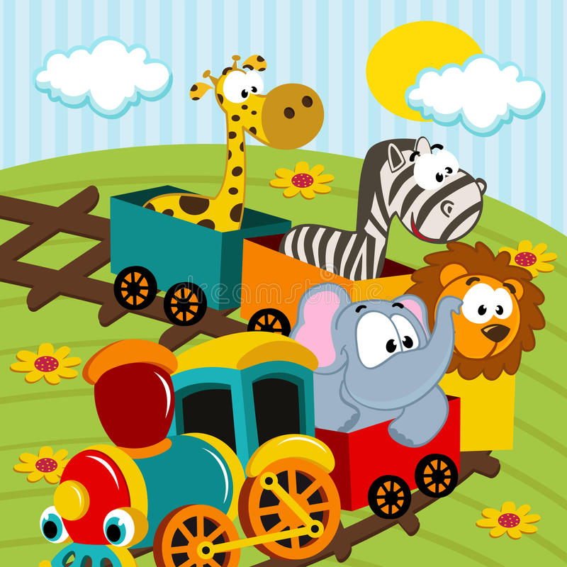 Dieren door trein royalty-vrije illustratie