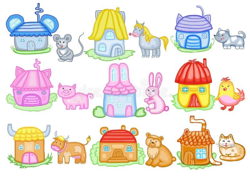 Dieren en hun huizen stock illustratie