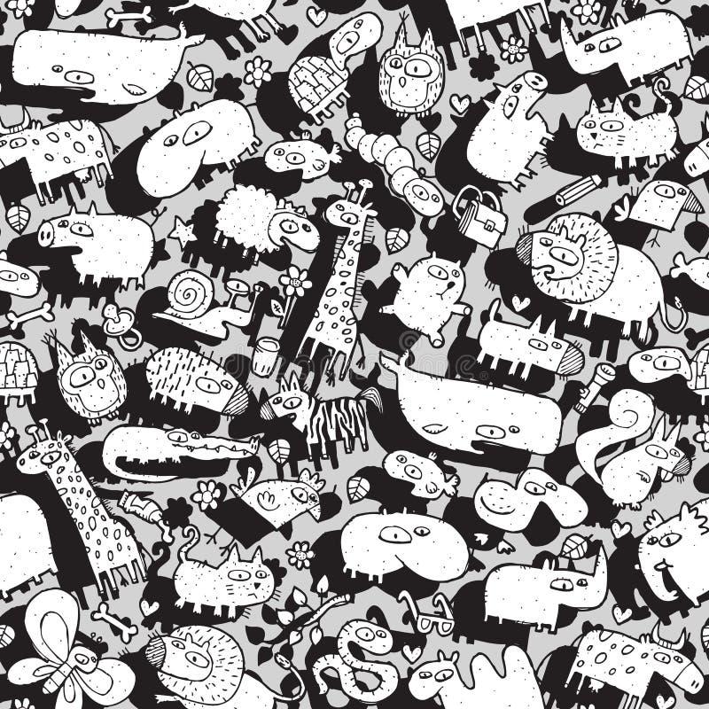 Dieren en Objecten Naadloos Patroon vector illustratie