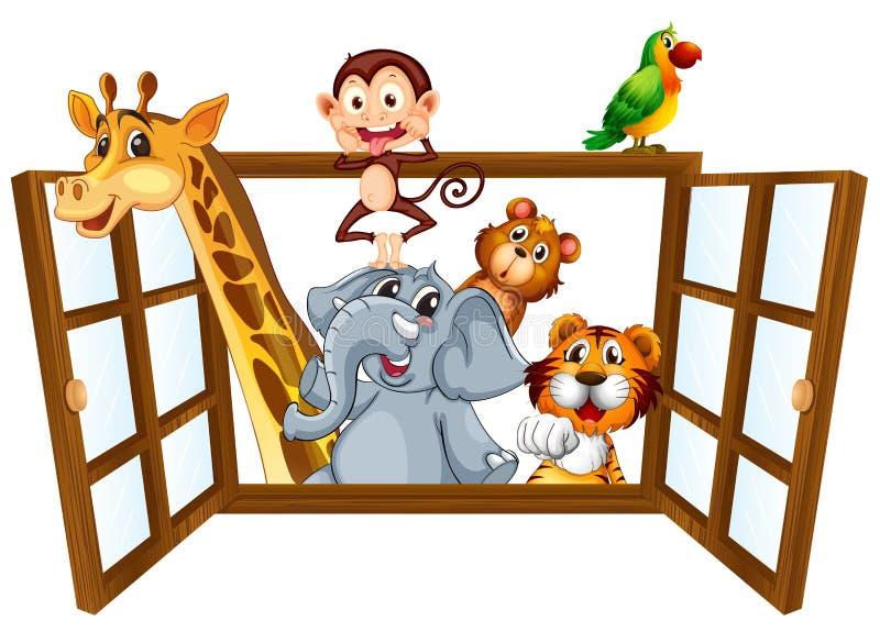 Dieren en venster vector illustratie