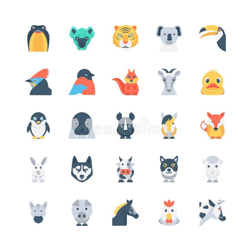 Dieren en Vogels Gekleurde Vectorpictogrammen 4 royalty-vrije illustratie