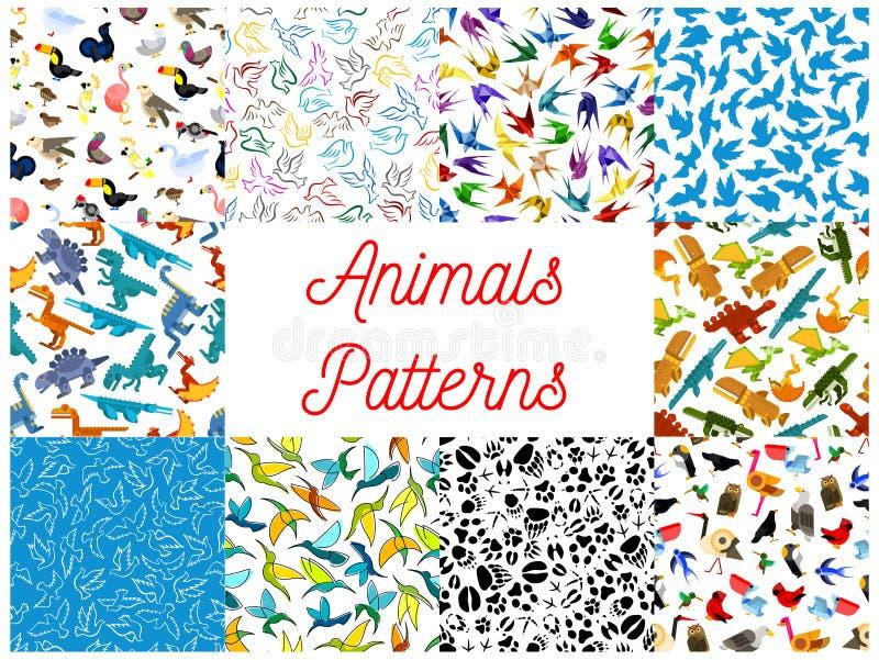 Dieren en vogels naadloze geplaatste patronen stock illustratie